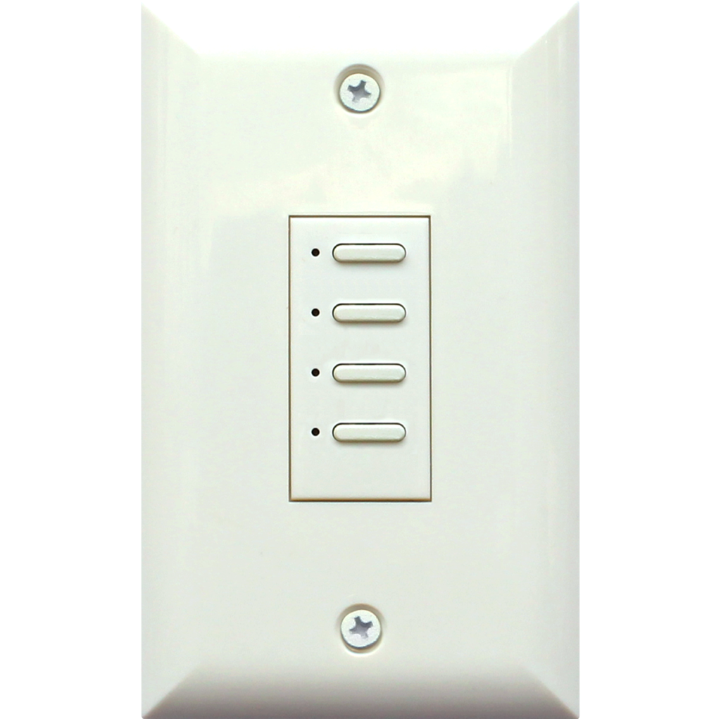 Eclipse Series Wall Switch | Low-voltage Contact Closure Switches | White, 4-Button