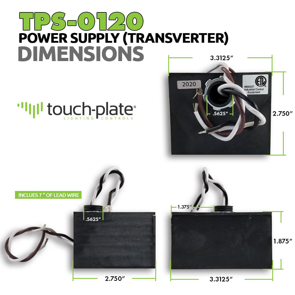 TPS-0120 Power Supply | 120V Transverter | Dimensions