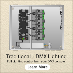 Tranditional plus DMX Lighting. Full facility lighting control from your DMX console. Click here to learn more.