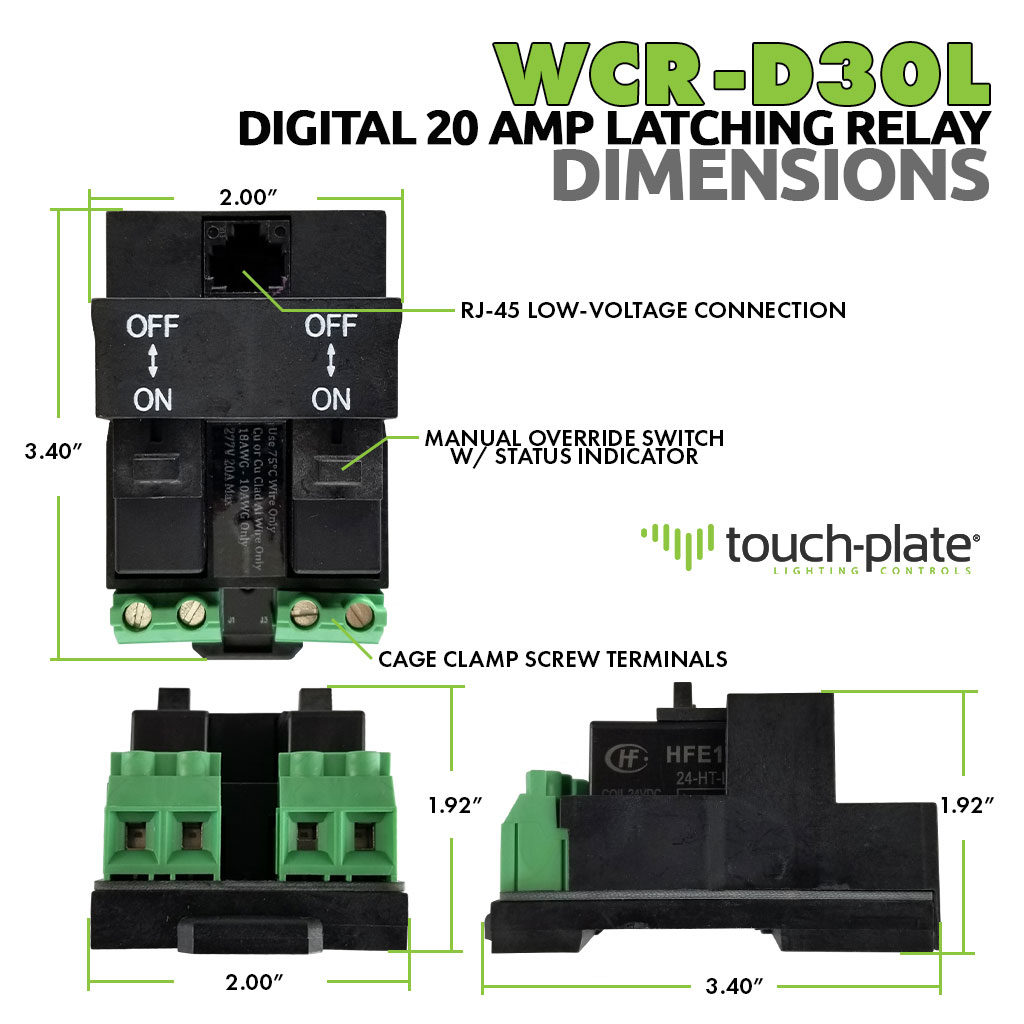 WCR-D30L Digital Relay | 20Aamp Latching Relay | Dimensions