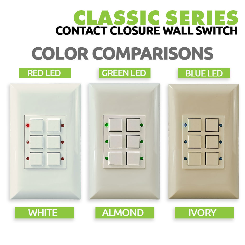 Classic Series Wall Switch | Low-voltage Contact Closure Switches | Color Choices