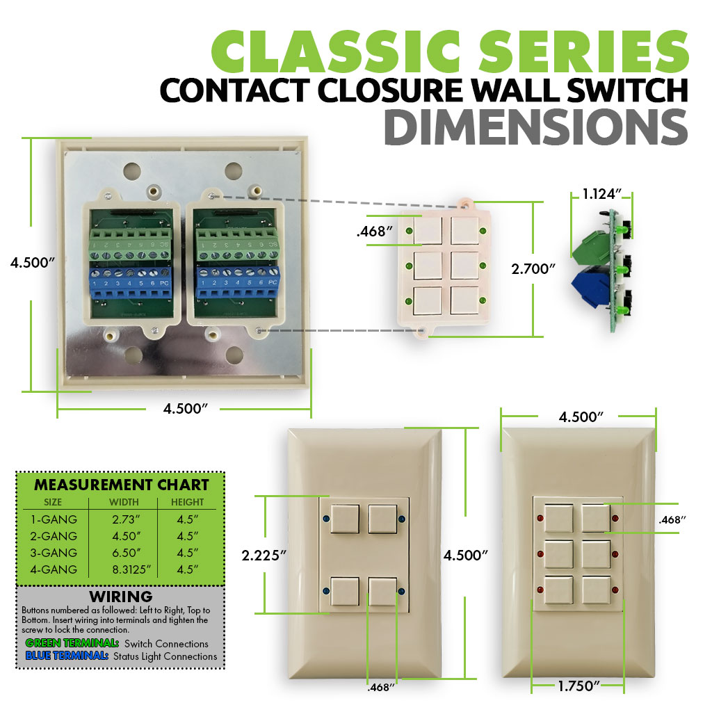 Classic Series Wall Switch | Low-voltage Contact Closure Switches | Dimensions