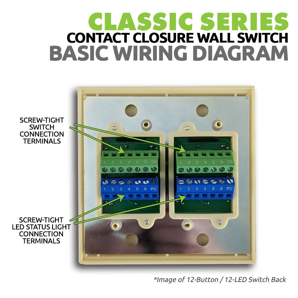 Classic Series Wall Switch | Low-voltage Contact Closure Switches | Basic Wiring