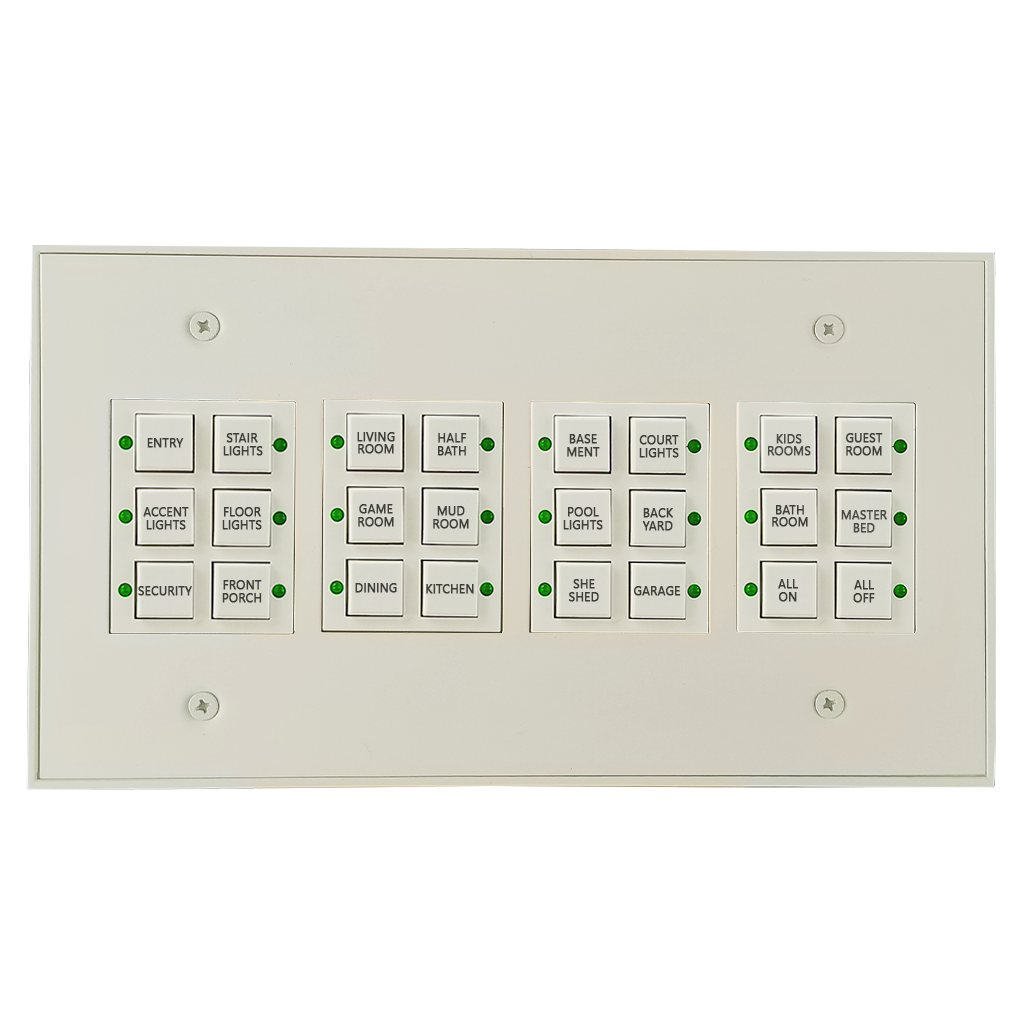 Classic Series Wall Switch | Low-voltage Contact Closure Switches | White, 24-Button, 24 LED | With Engraved Buttons