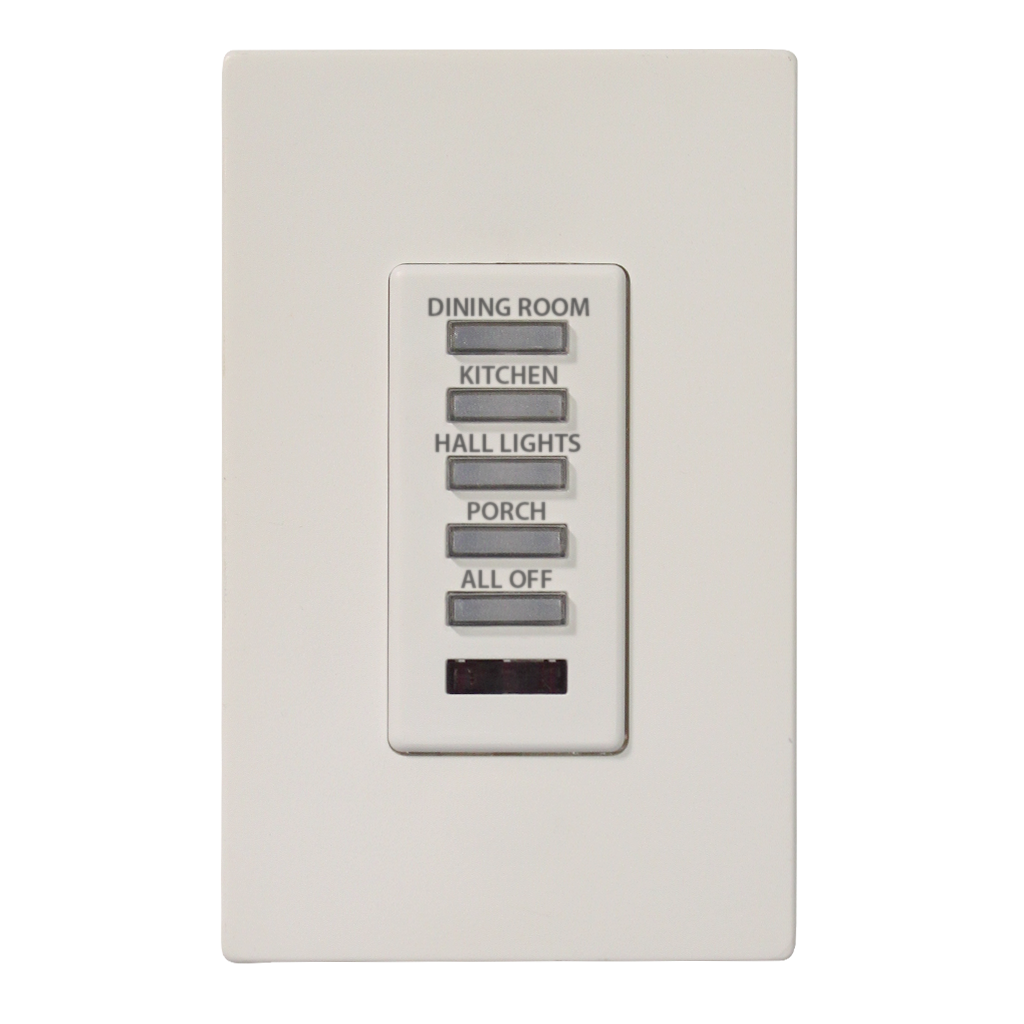 Consensio Series Wall Switch | Low-voltage Contact Closure Switches | White, 5-Button, 5 LED | Engraved