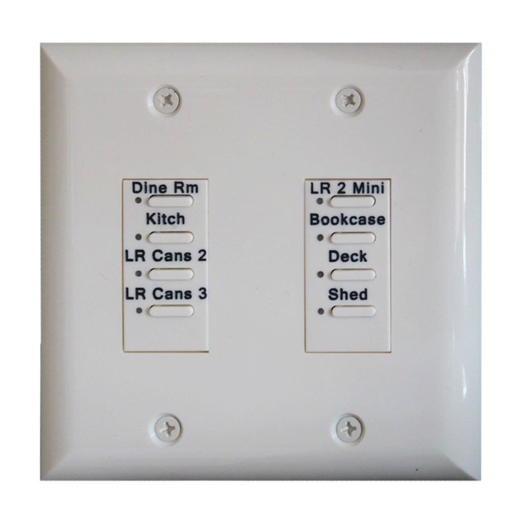 Eclipse Series Wall Switch | Low-voltage Contact Closure Switches | White, 8-Button, 8 LED | With Engraved Buttons