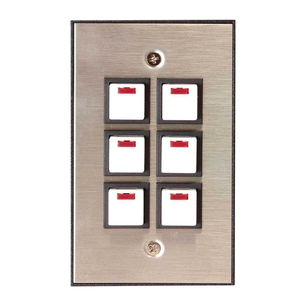 Industrial Series Wall Switch | Silver, 6-Button, 6 LED