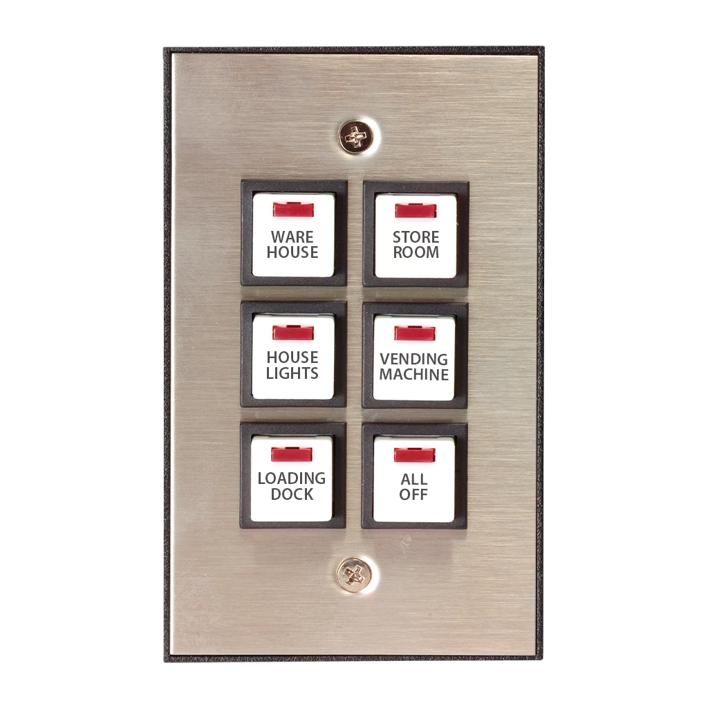 Industrial Series Wall Switch with Engraved Buttons | Silver, 6-Button, 6 LED