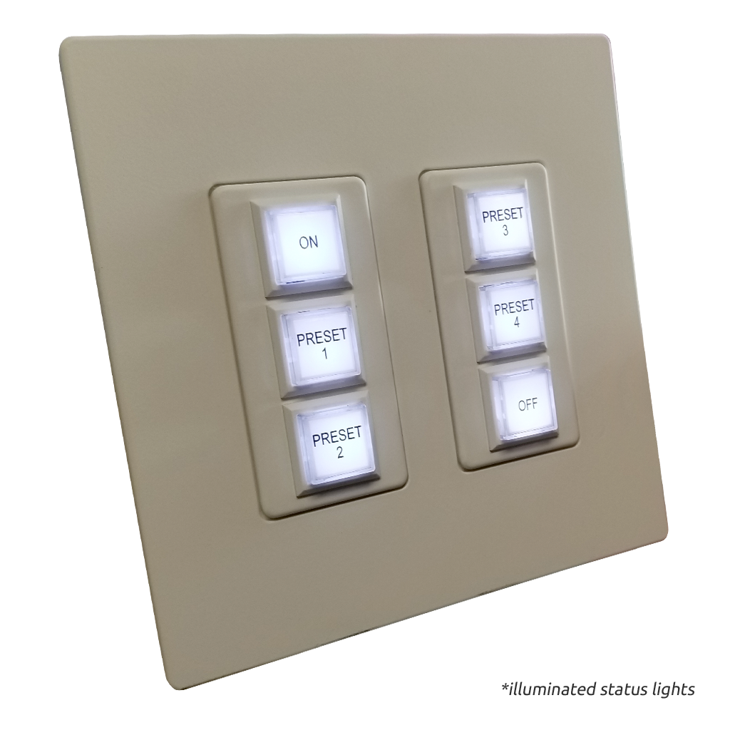 Innova Series Wall Switch | Low-voltage Contact Closure Switches | White, 12-Button, 12 LED | With Engraved Buttons | Illuminated