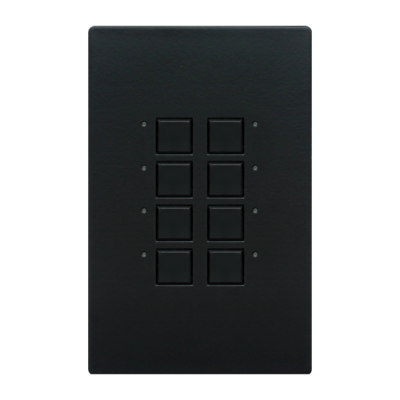 Mystique Series Wall Switch | Low-voltage Contact Closure Switches | Black, 8-Button, 8 LED
