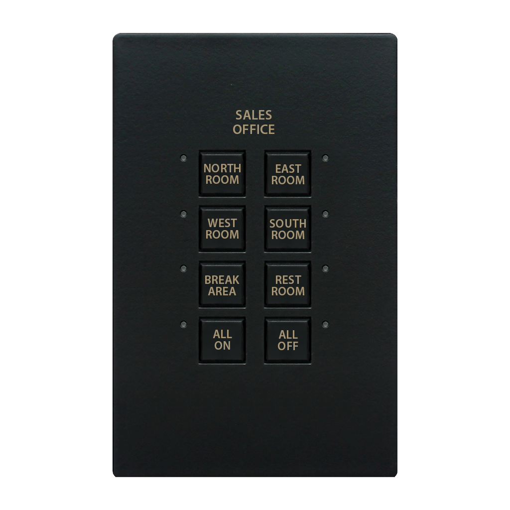 Mystique Series Wall Switch | Low-voltage Contact Closure Switches | Black, 8-Button, 8 LED | With Engraved Buttons & Cover