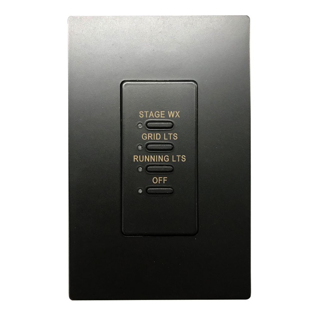 Ultra Series Wall Switch | Low-voltage Contact Closure Switches | Black, 4-Button, 4 LED | Engraved
