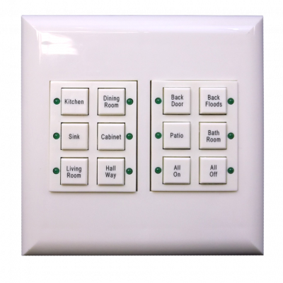Classic Series Wall Switch | Low-voltage Contact Closure Switches | White, 12-Button, 12 LED | With Engraved Buttons
